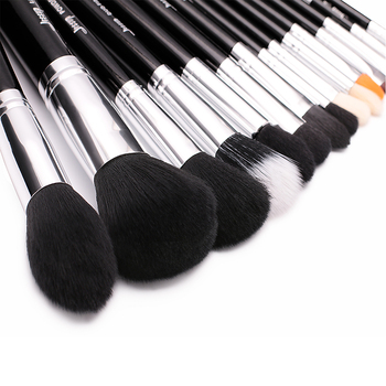 Jessup Pro 15pcs Aplauzums Sukas Uzstādīt Melna/Sudraba Kosmētikas Make up Pulveris Fonds Eyeshadow acu zīmulis Lūpu Brush Tool, skaistums